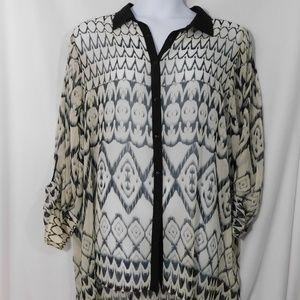 Avenue Sheer Tunic Button Up Sheer Blouse 22/24